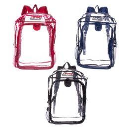"""24 Units of 17"""" Kids Clear Premium Backpacks in 3 Assorted Colors - Backpacks 17"""""""