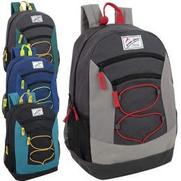 """24 Units of Urban Sport 18 Inch Multi Pocket Bungee Backpack - 4 Colors - Backpacks 18"""" or Larger"""