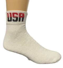 24 Units of Yacht & Smith Men's King Size Cotton USA Sport Ankle Socks Size 13-16 Solid White USA Print - Big And Tall Mens Ankle Socks