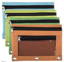 96 Units of Wholesale 3 Ring Binder Mesh Window Pencil Case - Pencil Boxes & Pouches