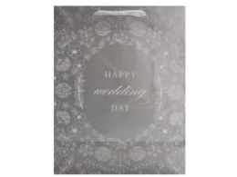 72 Units of silver wedding day gift bag w/tissue silver wedding day - Gift Bags Assorted