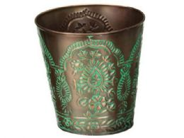 48 Units of 4 inch tapered metal planter with paisley design - Garden Planters and Pots