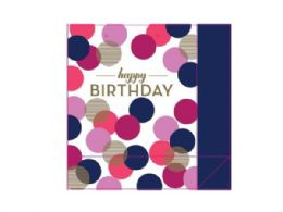 72 Units of purple and navy dots happy birthday gift bag - Gift Bags Assorted