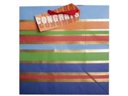 108 Units of large striped congrats gift bag - Gift Bags Assorted