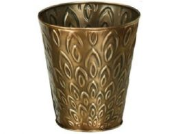 48 Units of 4 inch tapered metal planter with bronze lotus design - Garden Planters and Pots