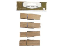 108 Units of Four Pack Wood Clothespins - Clothes Pins