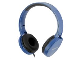 12 Units of magnavox foldable stereo headphones in blue - Store