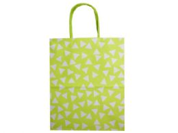 144 Units of medium green gift bag with printed white triangles - Gift Bags Assorted
