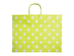 96 Units of large green gift bag with printed squares - Gift Bags Assorted