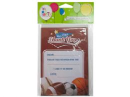 144 Units of 8 count all star sports thank you cards - Store