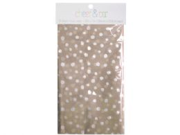 72 Units of 20 count gift wrap tissue paper in kraft with white dots - Gift Wrap