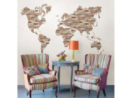 12 Units of brick wall world map wall art kit - Store