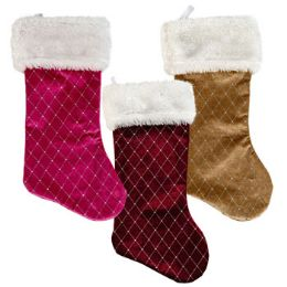 18 Units of Stocking Velvet Silver Glitter - Christmas Stocking