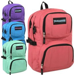 "24 Units of Trailmaker Double Compartment Backpack with Padding Girl Colors - Backpacks 18"" or Larger"