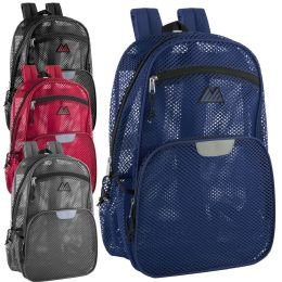 "24 Units of Pro Jersey Reflective 18 Inch Mesh Backpacks - Backpacks 18"" or Larger"