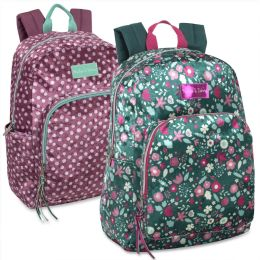 24 Units of 17 Inch Printed Velvet Backpacks Girls - Backpacks 17""