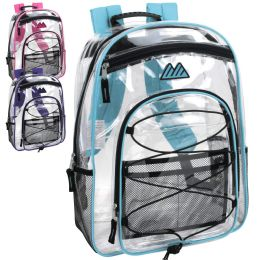 24 Units of 17 Inch All Terrain Clear Bungee Backpack 4 Colors - Backpacks 17""