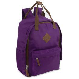 24 Units of 17 Inch Twin Handle Squared Backpack Purple - Backpacks 17""