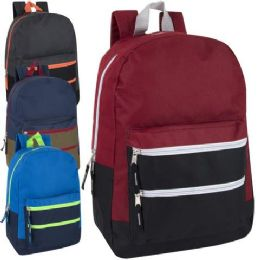 24 Units of Trailmaker 17 Inch Color Block Backpack 4 Colors - Backpacks 17""