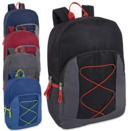 24 Units of 17 Inch Bungee Backpack With Side Pocket 5 Colors - Backpacks 17""
