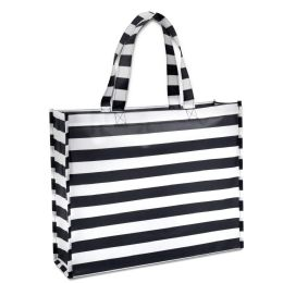 100 Units of Chevron Non Woven Tote Bags 15 Inch In Black - Tote Bags & Slings