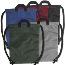 48 Units of Kids 15 Inch Drawstring Bag 5 Colors - Draw String & Sling Packs