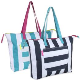 24 Units of Cabana Stripe Beach Tote Bag 15 Inch - Tote Bags & Slings