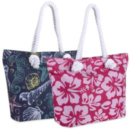 24 Units of Printed Beach Rope Tote Bag 15 Inch - Tote Bags & Slings