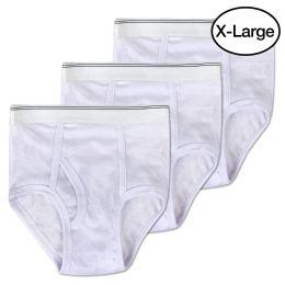 144 Units of White Cotton Men's Briefs XLarge - Mens Underwear