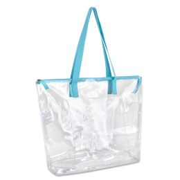 24 Units of Clear Tote Bag In Blue - Tote Bags & Slings