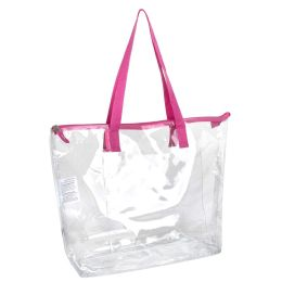 24 Units of Clear Tote Bag In Pink - Tote Bags & Slings