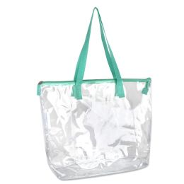 24 Units of Clear Tote Bag In Green - Tote Bags & Slings