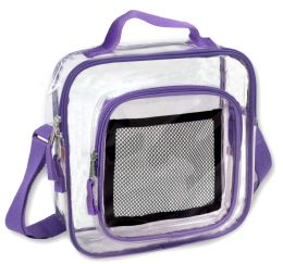 24 Units of Clear Toiletry Bag In Puple - Cosmetic Cases
