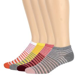 120 Units of Women's Cotton Striped Ankle Socks - Womens Ankle Sock