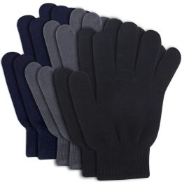 96 Units of Adult Knitted Gloves 3 Colors - Winter Gloves