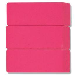 192 Units of 3 Pack Pink Eraser - Erasers