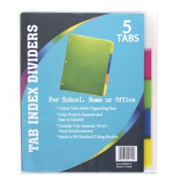 96 Units of 5 Pack Tab Index Dividers - Dividers & Index Cards