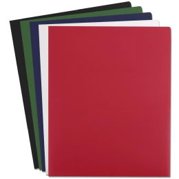 96 Units of Heavy Duty Plastic Folder Assorted Colors - Folders & Portfolios