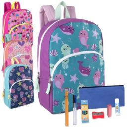 24 Units of Preassembled 15 Inch Character Backpack And 12 Piece School Supply Kit Girls - School Supply Kits