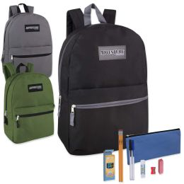 24 Units of Preassembled 17 Inch Adventure Trails Backpack And 12 Piece School Supply Kit 3 Colors - School Supply Kits