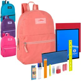 24 Units of Preassembled 17 Inch Backpack And 20 Piece School Supply Kit Girls - School Supply Kits