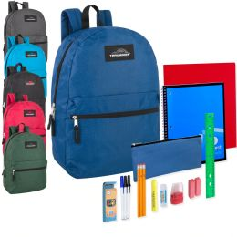 24 Units of Preassembled 17 Inch Backpack And 20 Piece School Supply Kit 6 Color - School Supply Kits