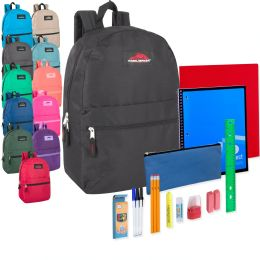 24 Units of Preassembled 17 Inch Backpack And 20 Piece School Supply Kit 12 Color - School Supply Kits