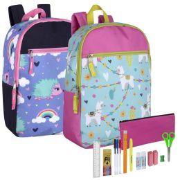 24 Units of Backpack And 18 Piece School Supply Kit Girls - School Supply Kits