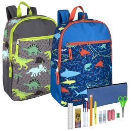 24 Units of Preassembled 17 Inch Printed Backpack And 18 Piece School Supply Kit Boys - School Supply Kits
