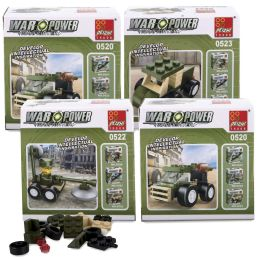 100 Units of Micro Blocks Army Vehicles In Bulk 4 Assorted Vehicles - Cars, Planes, Trains & Bikes