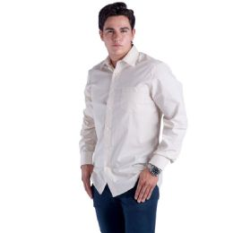 24 Units of Mens Button Down Dress Shirt In Beige - Mens Polo Shirts