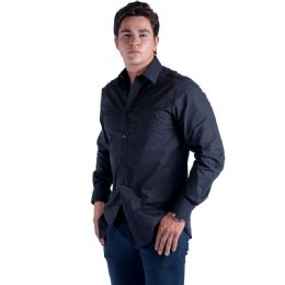 24 Units of Mens Button Down Dress Shirt In Black - Mens Polo Shirts