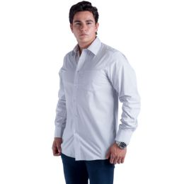 24 Units of Mens Button Down Dress Shirt In Light Grey - Mens Polo Shirts