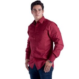 24 Units of Mens Button Down Dress Shirt In Burgandy - Mens Polo Shirts